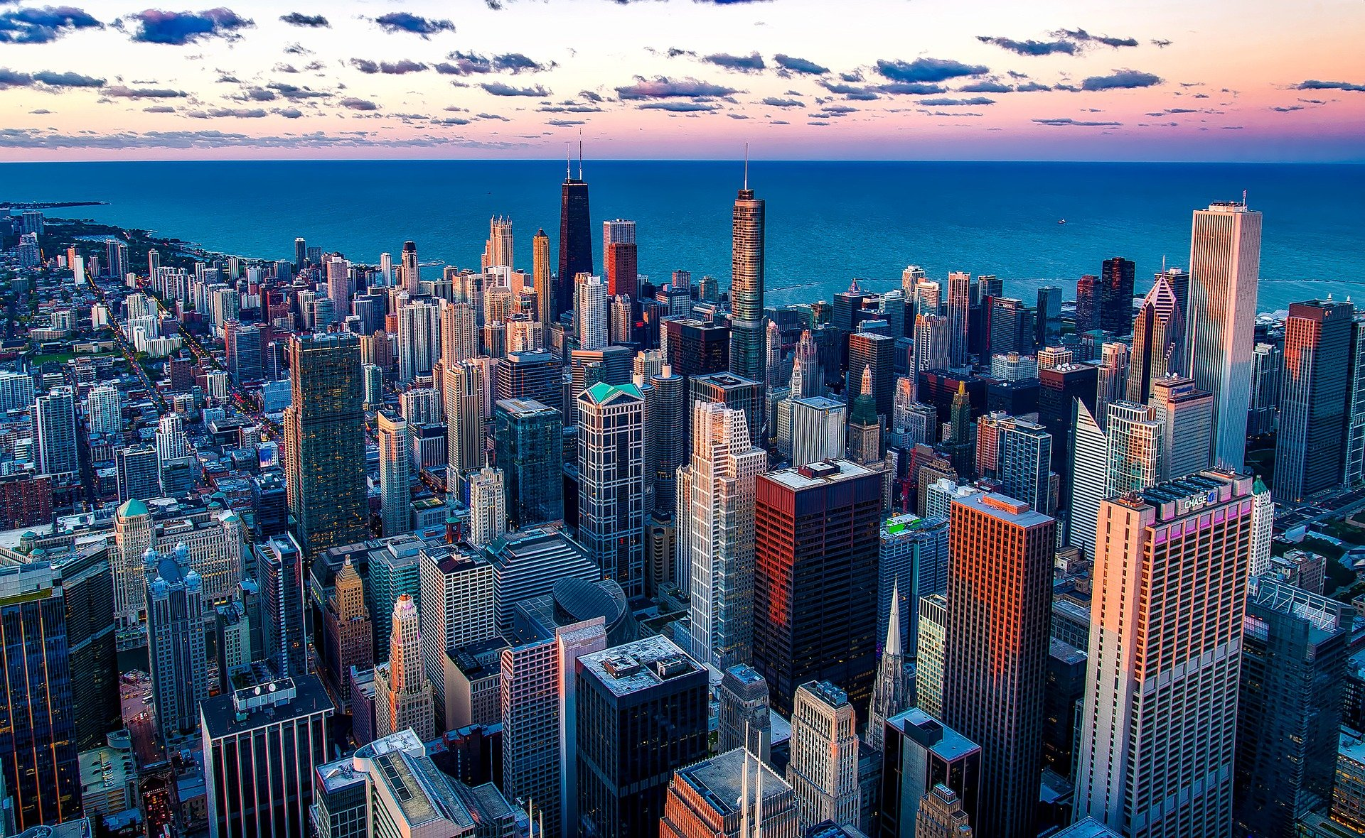 Downtown Chicago aus der Vogelperspektive